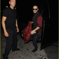 **NO Australia, New Zealand** West Hollywood, CA - Tokio Hotel stars Tom and Bill Kaulitz made a splash as they arrived at Bootsy Bellows Nightclub in West Hollywood. Bill gave a friendly smile and wave to fans as he navigated his way out of the club AKM-GSI July 28, 2015 **NO Australia, New Zealand** To License These Photos, Please Contact : Steve Ginsburg (310) 505-8447 (323) 423-9397 steve@akmgsi.com sales@akmgsi.com or Maria Buda (917) 242-1505 mbuda@akmgsi.com ginsburgspalyinc@gmail.com